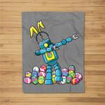 Easter Dabbing Robot Family with Bunny Ears Gift Fleece Blanket