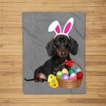 Easter Dachshund Funny Bunny Ears & Eggs Gift Fleece Blanket