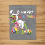 Happy Eastrawr T Rex Dinosaur Easter Bunny Fleece Blanket