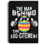 Mens Easter Pregnancy Announcement Man Behind Eggcitement Portrait Canvas