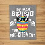 Mens Easter Pregnancy Announcement Man Behind Eggcitement Fleece Blanket