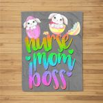 nurse mom boss bunny easter egg for mothers day Fleece Blanket