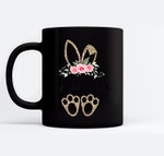 Womens Flower Leopard Bunny Grandma Easter Day Women Gifts Black Mugs