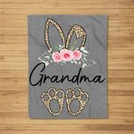 Womens Flower Leopard Bunny Grandma Easter Day Women Gifts Fleece Blanket