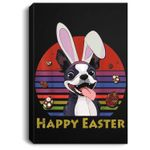 Boston Terrier With Bunny Headband Happy Easter Gifts Portrait Canvas