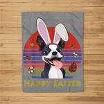 Boston Terrier With Bunny Headband Happy Easter Gifts Fleece Blanket
