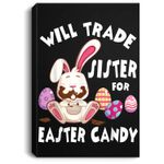 Bunny Eat Chocolate Eggs Will Trade Sister For Easter Candy Portrait Canvas
