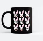 Bunny Emojis Cute Funny Rabbits Easter PJ Gift Black Mugs