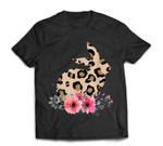 Bunny Leopard Print Floral Cute Easter Girls Women T-Shirt