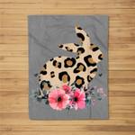 Bunny Leopard Print Floral Cute Easter Women Fleece Blanket
