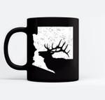 Arizona Elk Hunting - Bull Elk AZ State Shape Ceramic Coffee Black Mugs