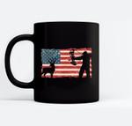 Vintage American Flag Archery Bow Hunting - Bowhunting Ceramic Coffee Black Mugs
