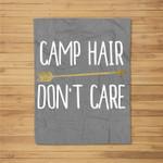 Camp Hair Don't Care Shirt Camping Kids Fleece Blanket