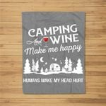 Camping Lover - Camping And Wine Kids Fleece Blanket