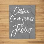 Cute Christian Camp Gift for Women Coffee Camping & Jesus Kids Fleece Blanket