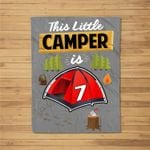 Fun 7th Camping Birthday Camp Lover 7 Year Old Gift Kids Fleece Blanket