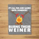 Funny Camping Burn Your Weiner Campfire Kids Fleece Blanket