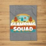 Glamping Squad Camping Traveling Campfire Distressed Kids Fleece Blanket
