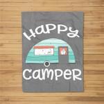 Happy Camper Retro Trailer RV Caravan Camping Kids Fleece Blanket