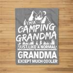 Happy Camping Grandma Outdoors Camper Quote Mountain Kids Fleece Blanket