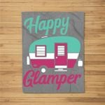 Happy Glamper Matching Family Camping Funny Glamping Kids Fleece Blanket