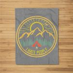 I Hate People Camping Retro Funny Camp Lovers Kids Fleece Blanket