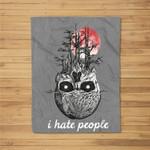 I Hate People Skull Tree Sunset Funny Camping Lover Kids Fleece Blanket