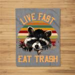 Live Fast Eat Trash Bear Vintage Camping Kids Fleece Blanket