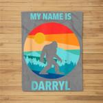 My name is Darryl Funny Bigfoot Camping Beer Lover Gift Kids Fleece Blanket