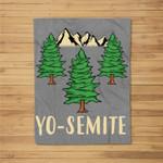 Yosemite National Park Hiking Funny Summer Camping Kids Fleece Blanket