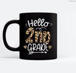Hello 2nd Grade Leopard Teacher Students Back To School Girl Ceramic Coffee Black Mugs