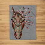 Horse Tribal Abstract Art Native American Geometric Horse Fleece Blanket