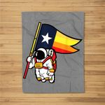 Houston Champ Texas Flag Astronaut Space City Fleece Blanket