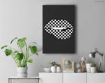 Funny Checkered Black White Lip Gift Cute Checkerboard Women Premium Wall Art Canvas Decor