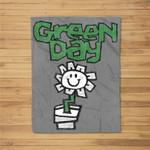 Green Day Flower Pot Fleece Blanket