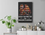 easily distracted by Dragon and Books nerds Premium Wall Art Canvas Decor