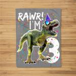 Kids Rawr I'm 3 3rd Birthday T Rex Dinosaur Party Gift for Boys Fleece Blanket
