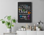 I Can Do All Things Through Christ Butterfly Art - Religious Premium Wall Art Canvas Decor