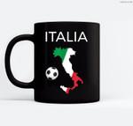 Italy Soccer Italian Italia Forza Azzurri Ceramic Coffee Black Mugs