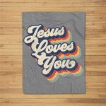 Jesus Loves You Retro Vintage Style Graphic Design Womens Fleece Blanket