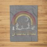 Joshua Tree Desert Rainbow Vintage Retro Outdoors Fleece Blanket