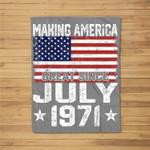July 1971 American Flag 50th Birthday Gifts 50 Years Old Fleece Blanket