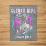 Jurassic Park Distressed Teal Raptor Clever Girl Fleece Blanket