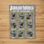 Jurassic World Two Blue Raptor Expressions Graphic Fleece Blanket