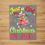 Just A Girl Who Loves Christmas In July Flamingo Fleece Blanket