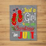 Just A Girl Who Loves Christmas In July Summer Gift Fleece Blanket