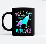 Just a Girl Who Loves wolves Watercolor Cute wolf lover Ceramic Coffee Black Mugs
