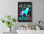 Just a Girl Who Loves wolves Watercolor Cute wolf lover Premium Wall Art Canvas Decor