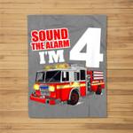 Kids Fire Truck 4th Birthday Boy Firefighter 4 Year Old Fleece Blanket