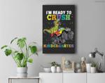 Kids I'm Ready To Crush Kindergarten Monster Truck Dinosaur Boys Premium Wall Art Canvas Decor